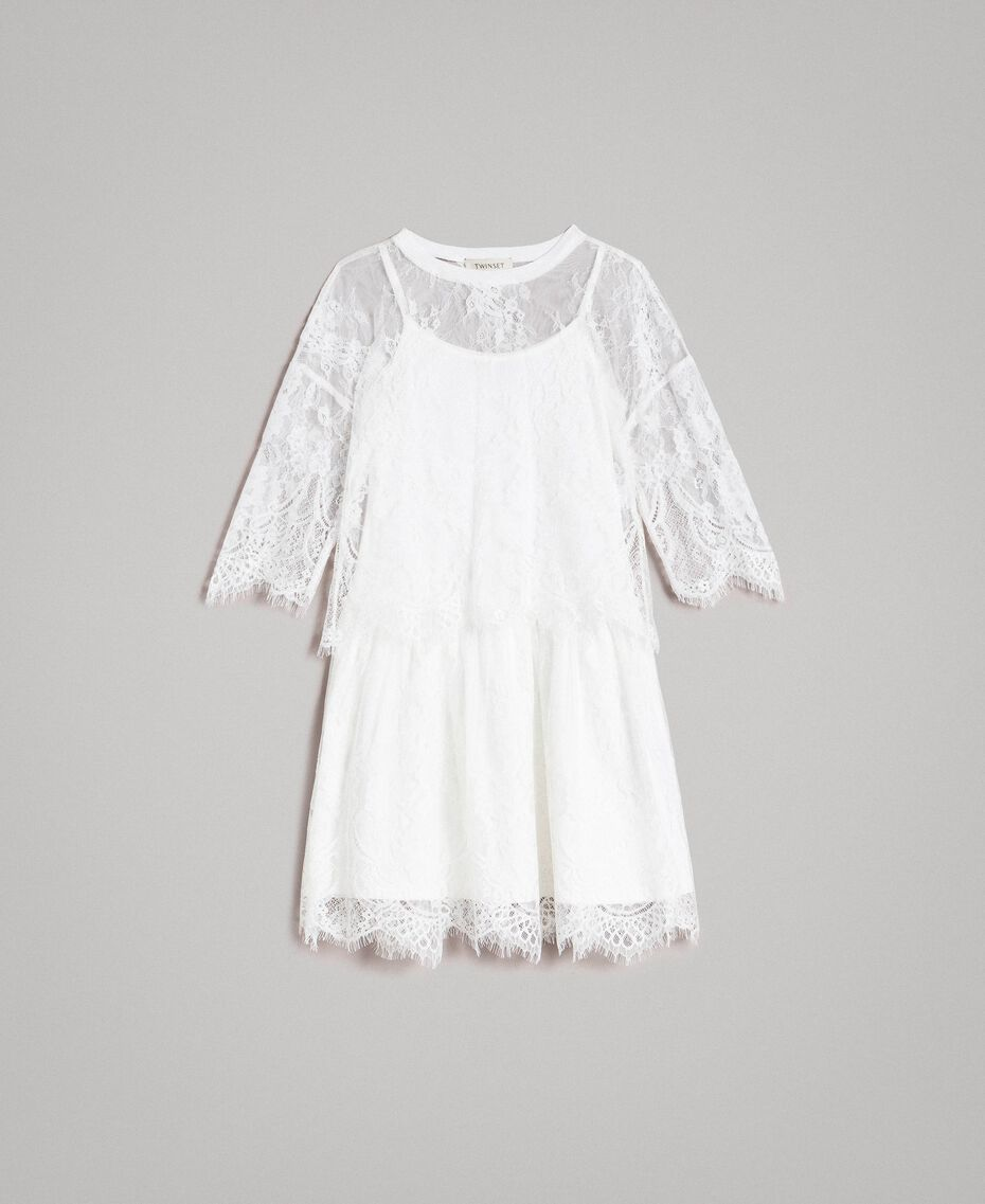 Jersey dress and lace blouse Off White Child 191GJ2740-01