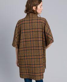Manteau poncho à grands carreaux Bicolore Carreaux Beige Cookie/ Orange Brûlée Femme TA821C-03
