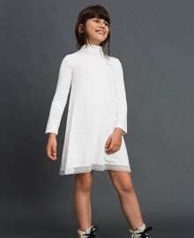Dress with lace and rhinestone logo Off White Child GCN2F1-02