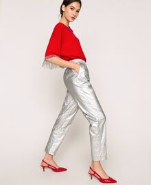 Laminated elasticated trousers Silver Woman 201TP2400-0T