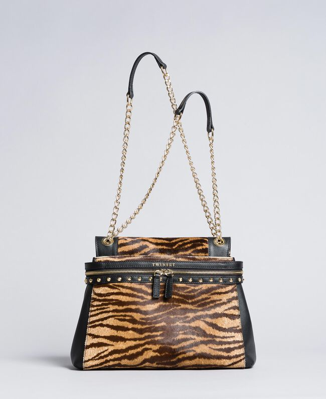 Medium leather and calf hair Cécile Deux Tiger Print Woman OA8TDQ-01