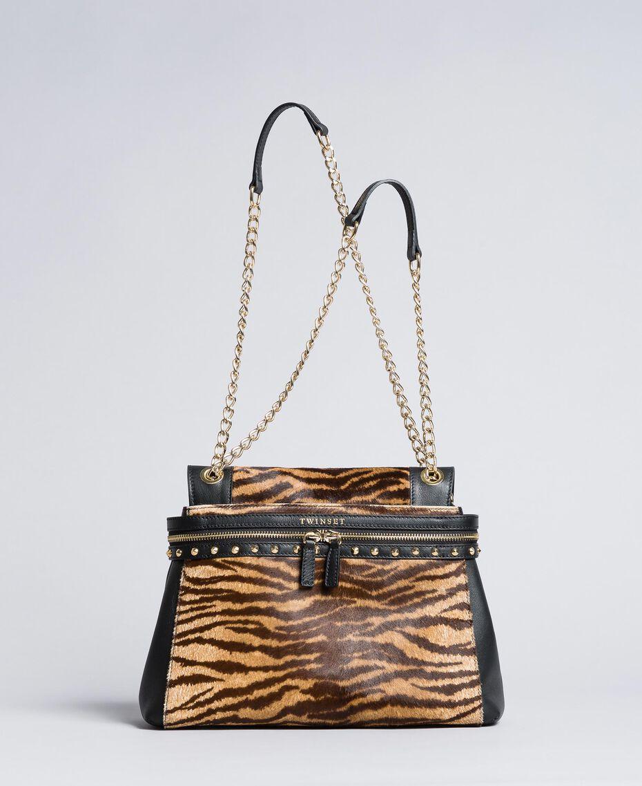 Sac Cécile Deux moyen en cuir et cuir effet poulain Imprimé Tigre Femme OA8TDQ-01