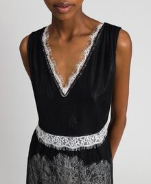 Chantilly lace dress with contrasting inlays Black / Creamy White Woman 192ST2114-04