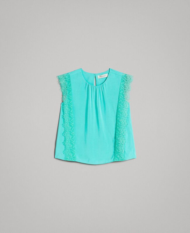 """Blouse in flowing fabric with lace """"Island Paradise"""" Light Blue Child 191GJ2432-01"""