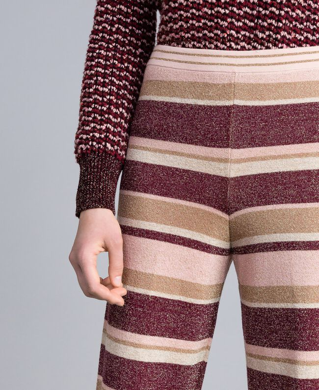 Pantalon palazzo rayé en lurex Multicolore Rose / Bordeaux Femme PA832Q-04