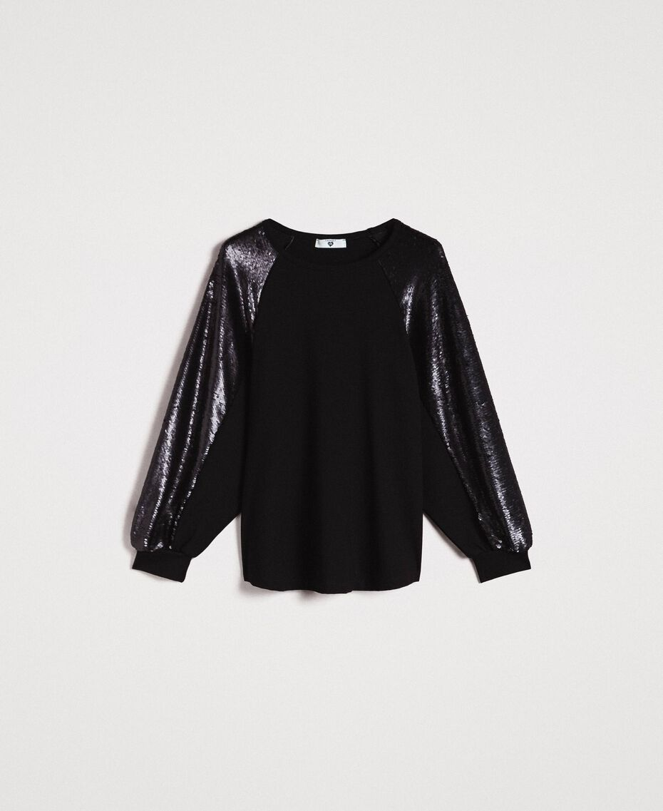 Stricksweatshirt mit Pailletten Schwarz Frau 191LB22LL-0S