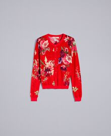 Coreana in lana stampata Stampa Red Garden Donna PA83KD-0S