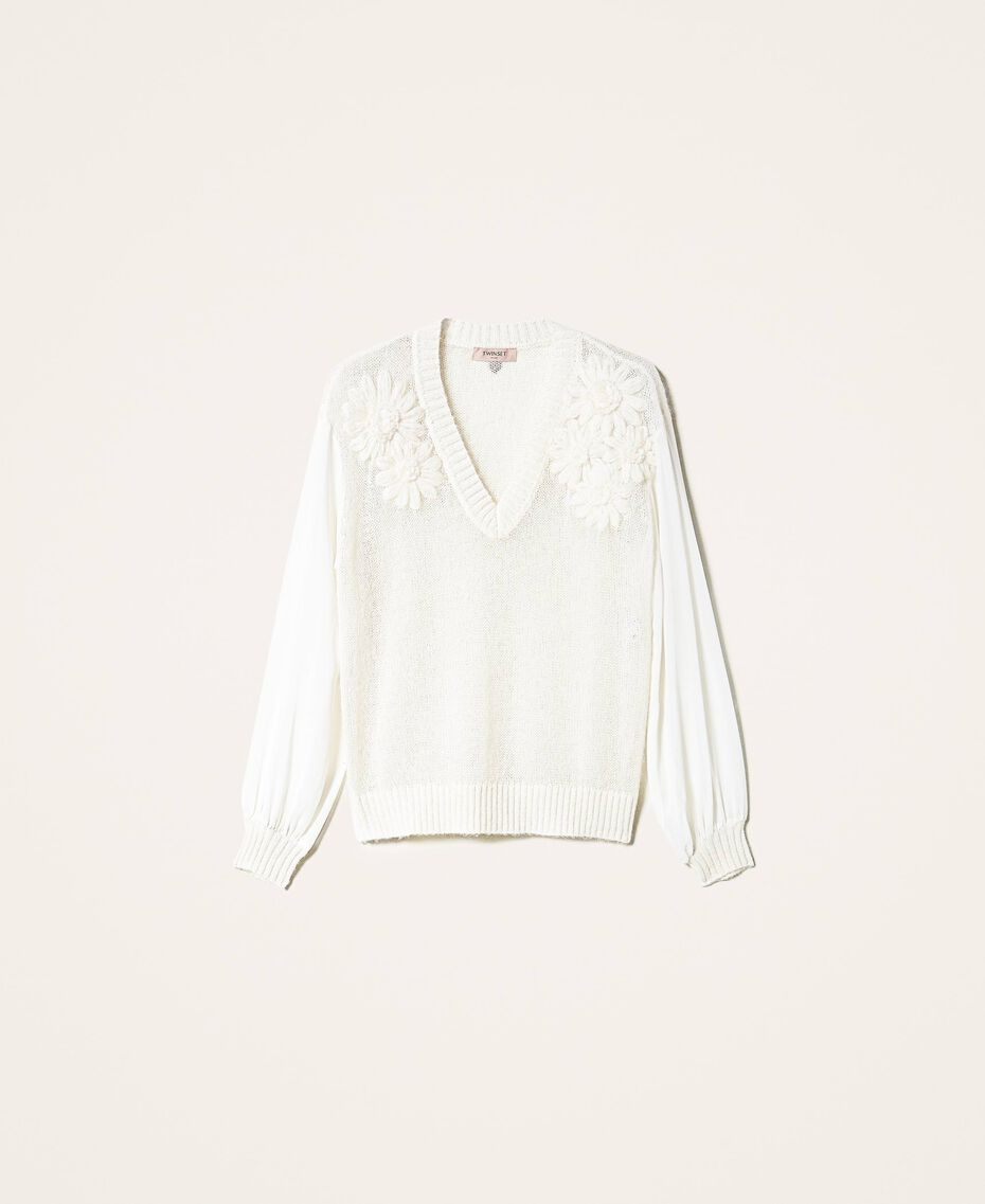 Mohair jumper with embroidery Creamy White Woman 202TP3260-0S