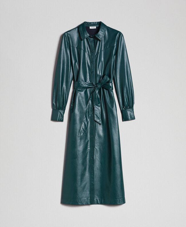 buy online 64c35 23617 Abito chemisier lungo in similpelle Donna, Verde   TWINSET ...