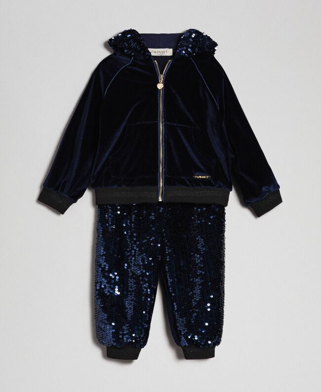 Sweat en velours et pantalon avec sequins Blue Night Enfant 192GB2092-01