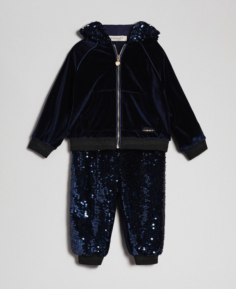 Sweat en velours et pantalon avec sequins Blue Night Enfant 192GB2092-01