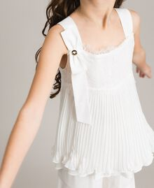 Pleated georgette top with lace Off White Child 191GJ2QA0-04