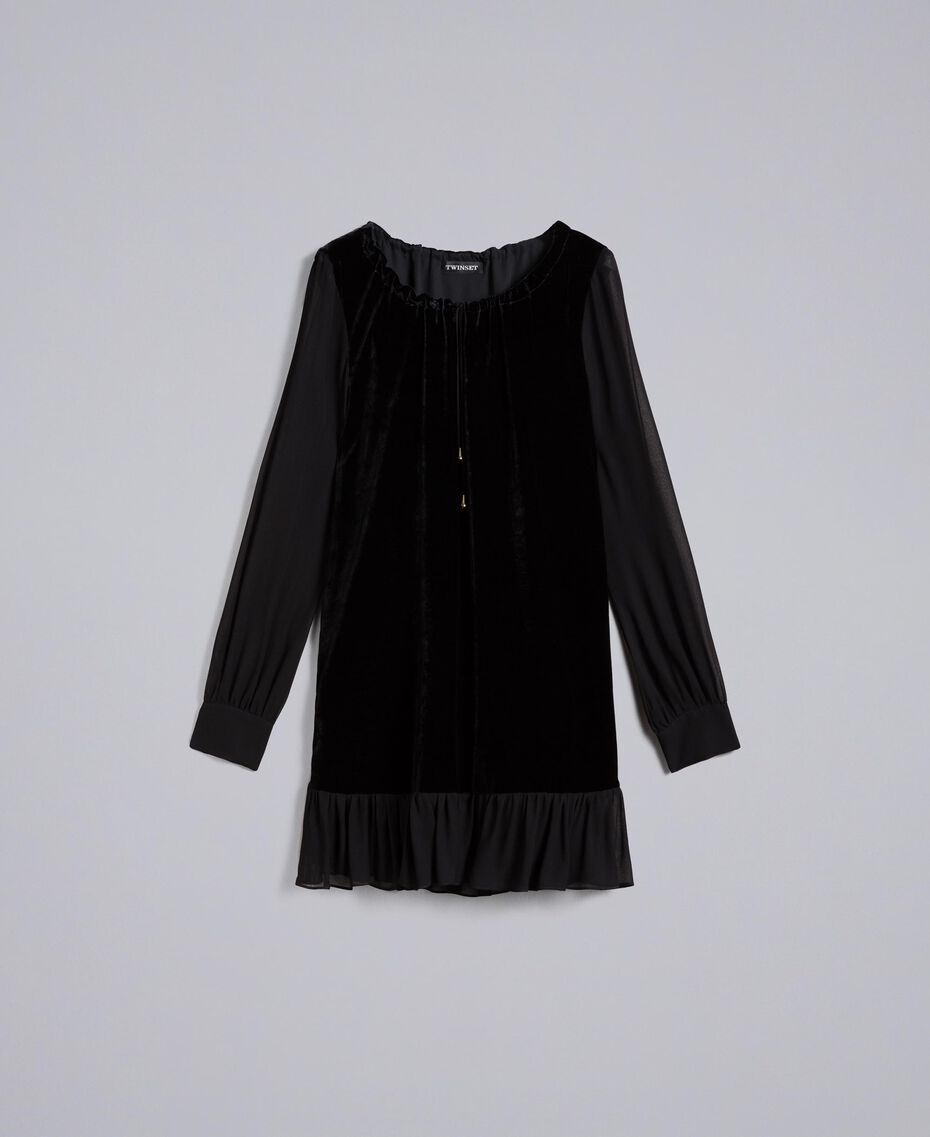 Velvet and georgette dress Black Woman PA823A-0S