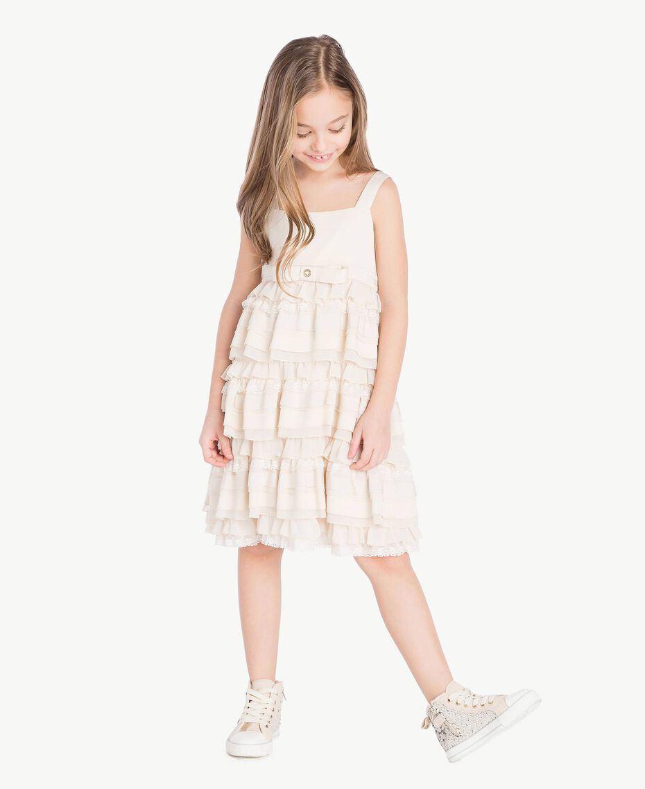 Flounced dress Pale Cream Child GS8LBG-02