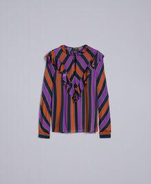Blouse en crêpe georgette rayé Imprimé Rayure Multicolore Femme TA8291-0S