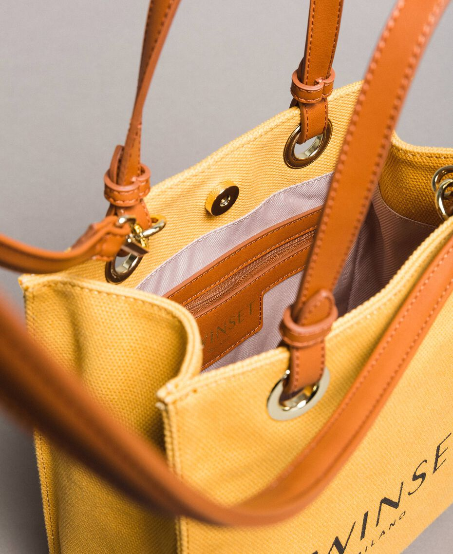 """Kleiner Shopper aus Canvas mit Logo """"Honey Gold"""" Frau 191TO8201-05"""
