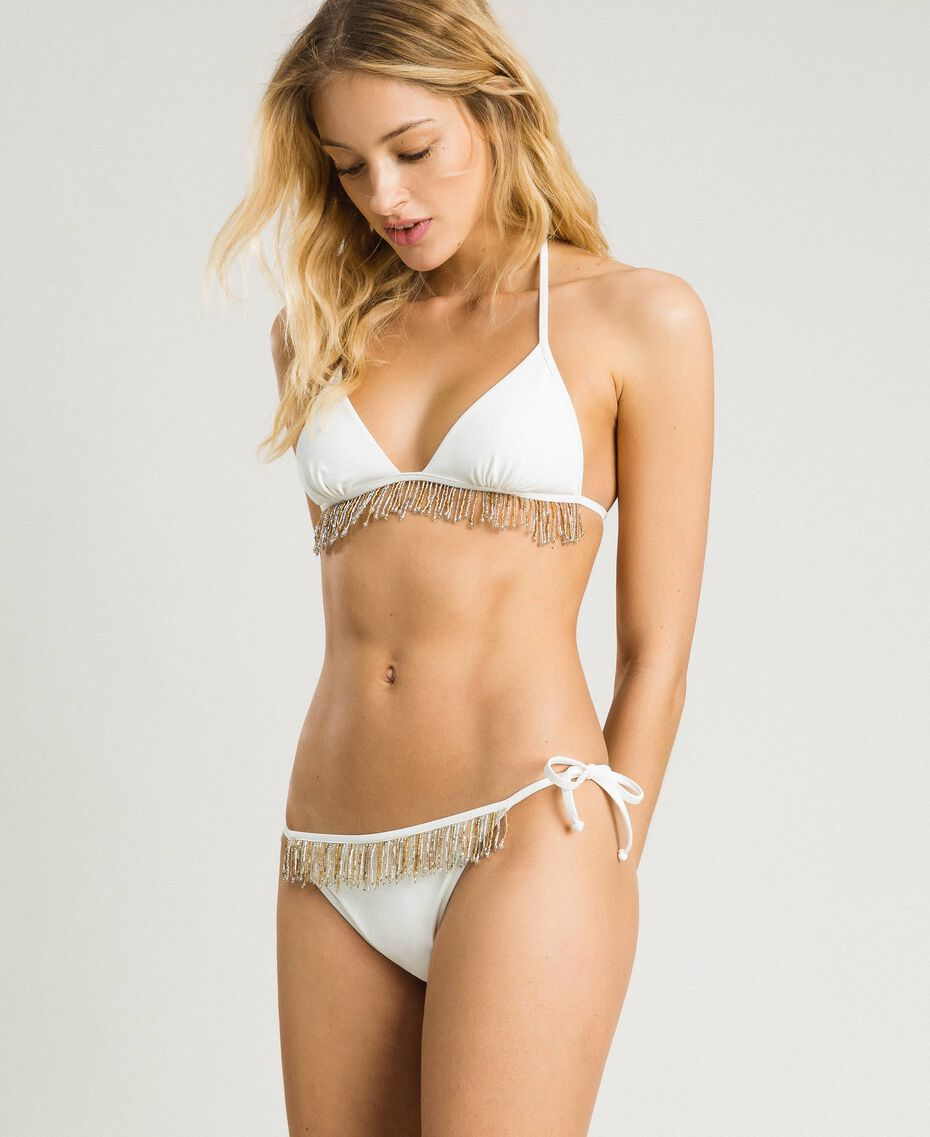 Bikini set with beaded fringes Ivory Woman 191LMMBYY-02
