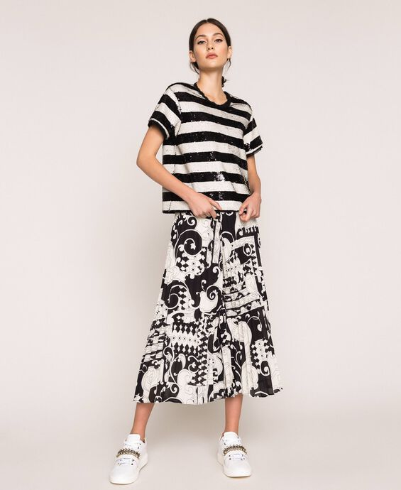 Printed georgette trouser-skirt