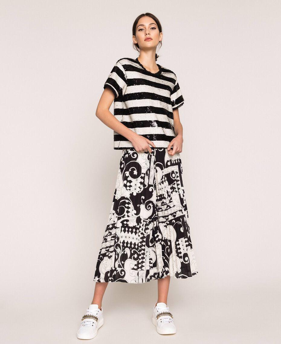 Jupe-culotte en crêpe georgette imprimé Imprimé Liberty Blanc / Noir Femme 201ST213H-01