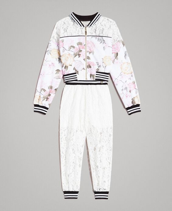 Fleece floral tracksuit and lace