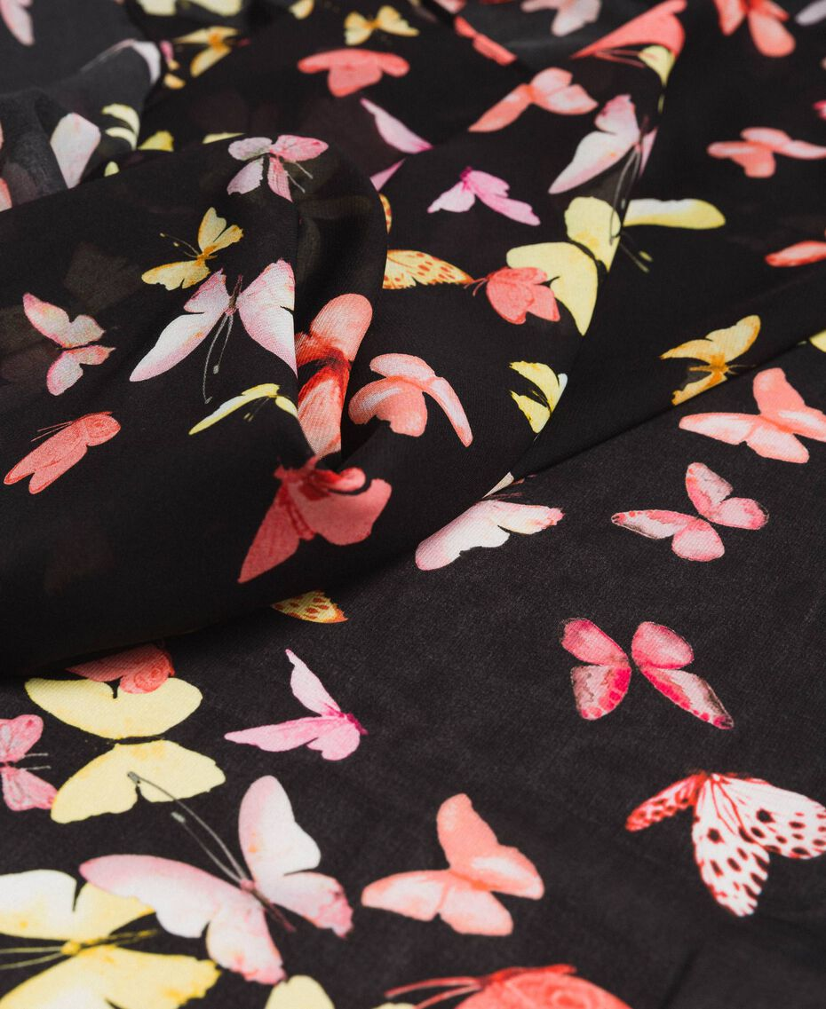 Georgette-Schal mit Schmetterlingen Motiv All Over Schwarze Schmetterlinge Frau 191TO530G-02