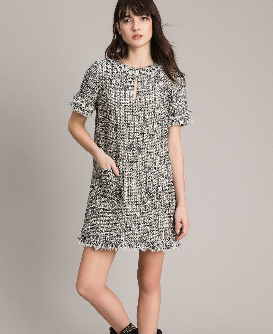 "Fringed tweed tunic dress Two-tone ""Snow"" White Bouclé / Black Woman 191TP2525-02"