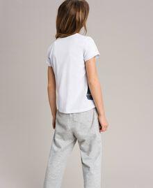T-Shirt aus Baumwolle mit Aufdruck und Nieten Weiß Kind 191GJ2381-03