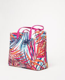 "Shopper aus bedrucktem Canvas Print Ferns ""Ice""-Weiß Frau 201MO8130-02"