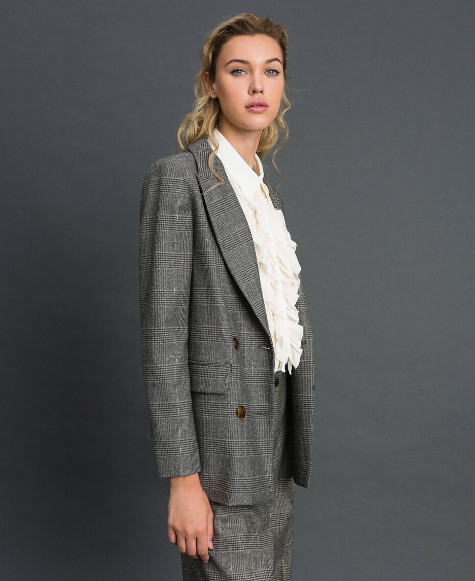 Glen plaid double breasted jacket Lurex Dark Grey Wales Design Woman 192TT2443-02