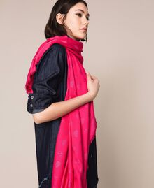 Fringe kefiah with hearts and jacquard logo Black Cherry Woman 999TA436D-0S