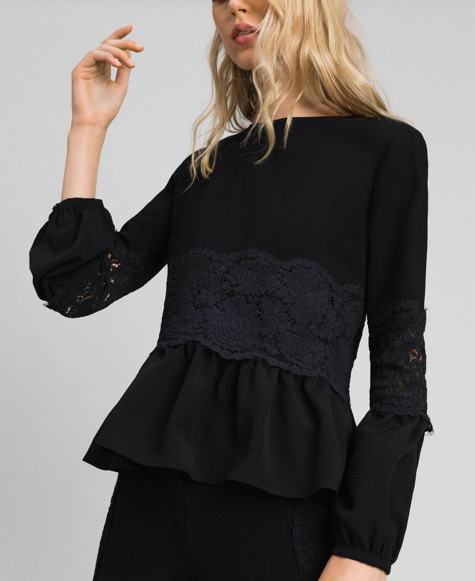 Blouse with macramé lace and flounce Black Woman 192TT2213-02