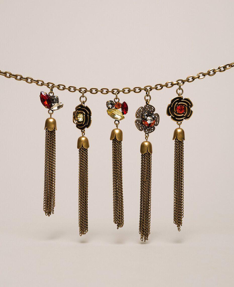 """Halskette mit Blumenanhängern mit Quasten """"Kupfriges Altmessing""""-Gold Frau 201TA430M-02"""