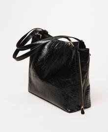 Rebel Hobo-Bag aus Glanzleder Schwarz Frau 201TO823V-03