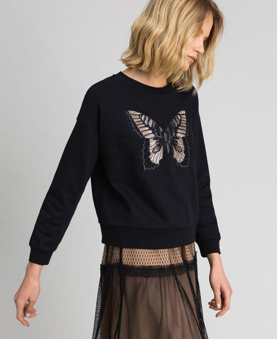 Sweat avec papillon brodé Noir Femme 192TP2732-02