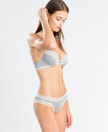 Slip aus melierter Stretchviskose Durchschnittgrau-Mélange Frau LA8B66-02