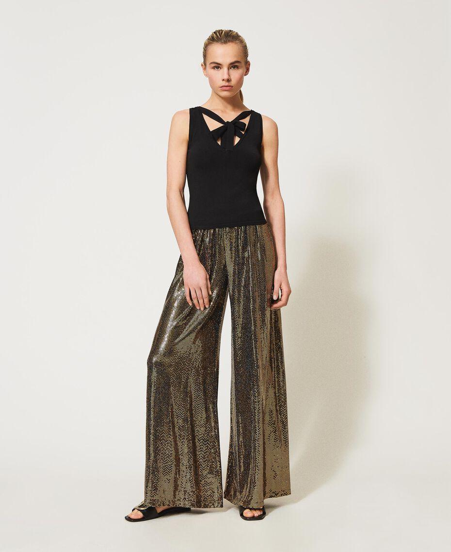 Pantaloni a palazzo a pois laminati Stampa Pois Nero / Oro Donna 211LM21TT-01