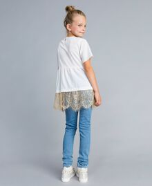 Jeans skinny con pietre e strass Denim Chiaro Bambina GA82VN-03