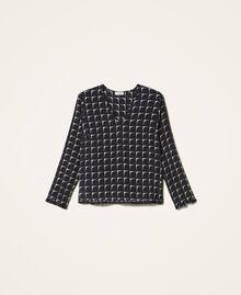 "Printed crêpe de Chine blouse with flounce Black /""Nude"" Beige Optical Print Woman 202ST2505-0S"