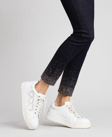 Leather trainers with hearts and studs White Woman 192TCP01Y-0S