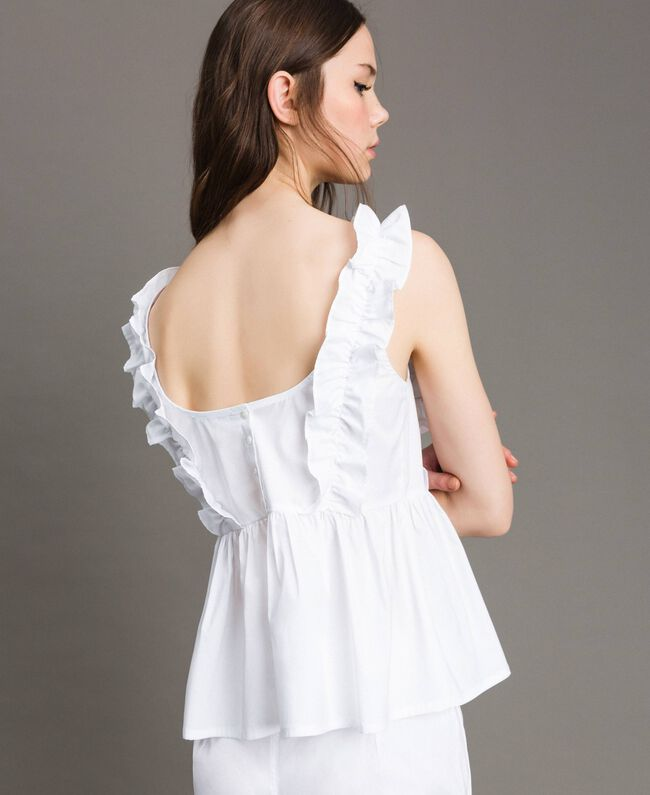 Poplin top with ruches and brooch White Woman 191MT2051-04