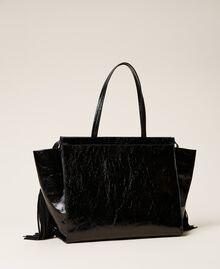 Shopper aus Leder mit Fransen Schwarz Frau 212TB7110-04