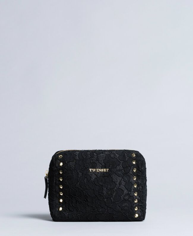 Lace-lined faux leather beauty case Black Woman AA8PFR-01