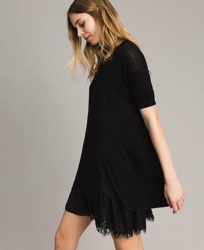 d1fefeab425 Asymmetric linen blend dress Black Woman 191ST3102-03