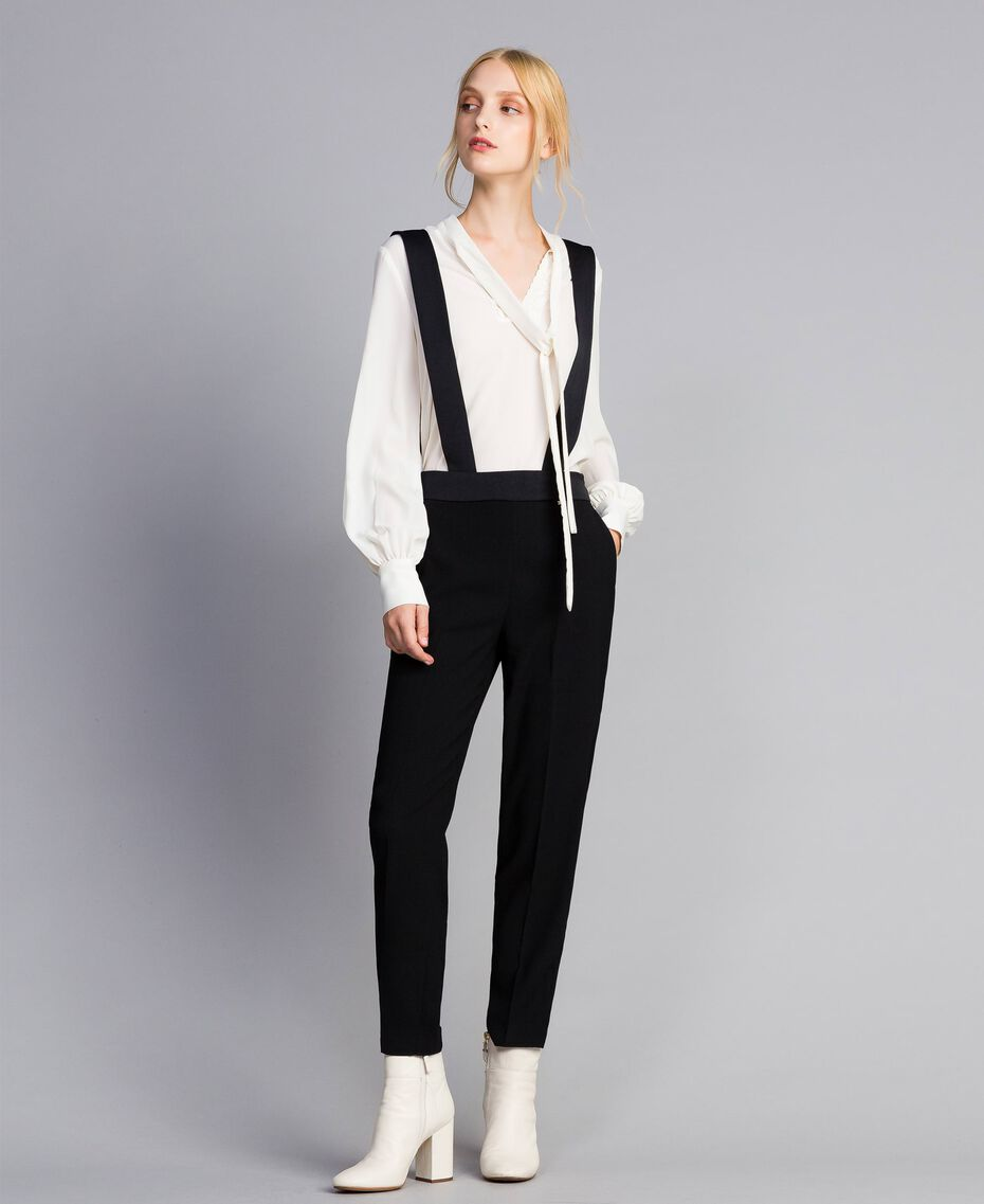 Drainpipe trousers with braces Black Woman SA82DE-02