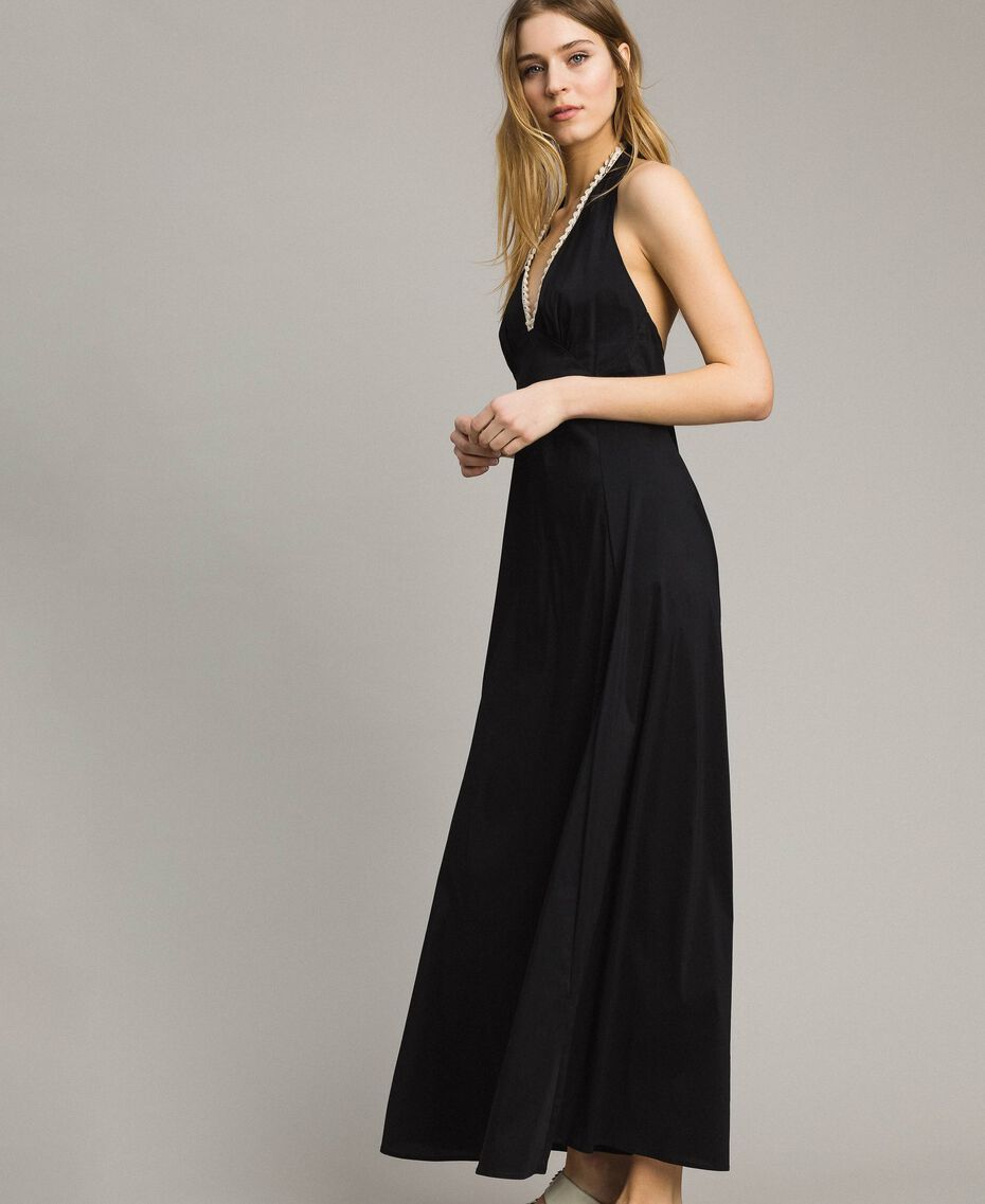 Poplin long dress Black Woman 191LB2JBB-02