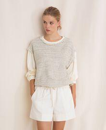 Blouse en tissu bouclé Multicolore Ivoire / Gris «Argent» Femme 201TP2230-03