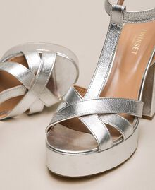 Laminated leather T-bar sandals Laminated Silver Grey Woman 201TCP074-04
