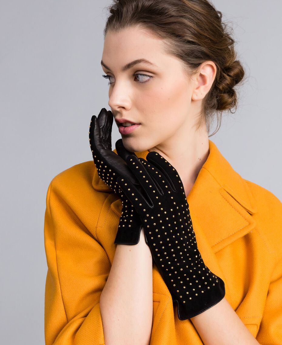 Studded suede gloves Bicolour Black / Gold Woman AA8P3F-0S
