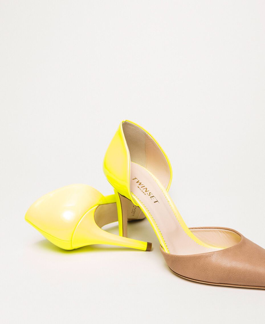 """Patent leather and leather court shoes Two-tone """"Desert"""" Beige / Fluo Yellow Woman 201TCP012-01"""