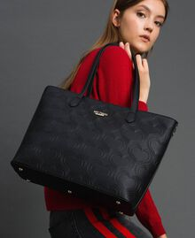 Borsa shopper in similpelle stampa cuori Nero Donna 192MA7010-0S
